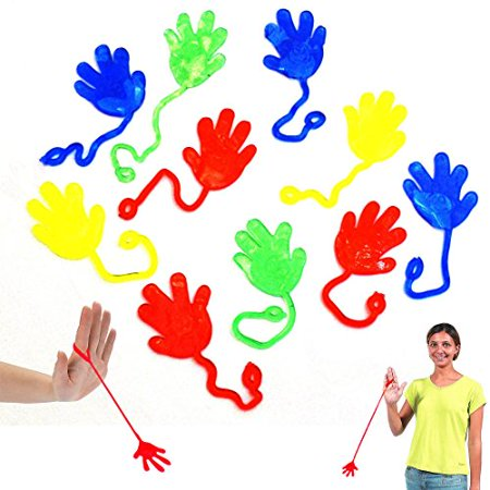 Multicolor Vinyl Sticky Hands and Feet Novelty Toy 72 Pack for Children's Parties - Funny Stretchy Mini Yoyo Sticky Fingers Kids Party Favors 72 Pk for Birthdays | Gags | Jokes | Stocking Stuffer (Kids Birthday Parties)