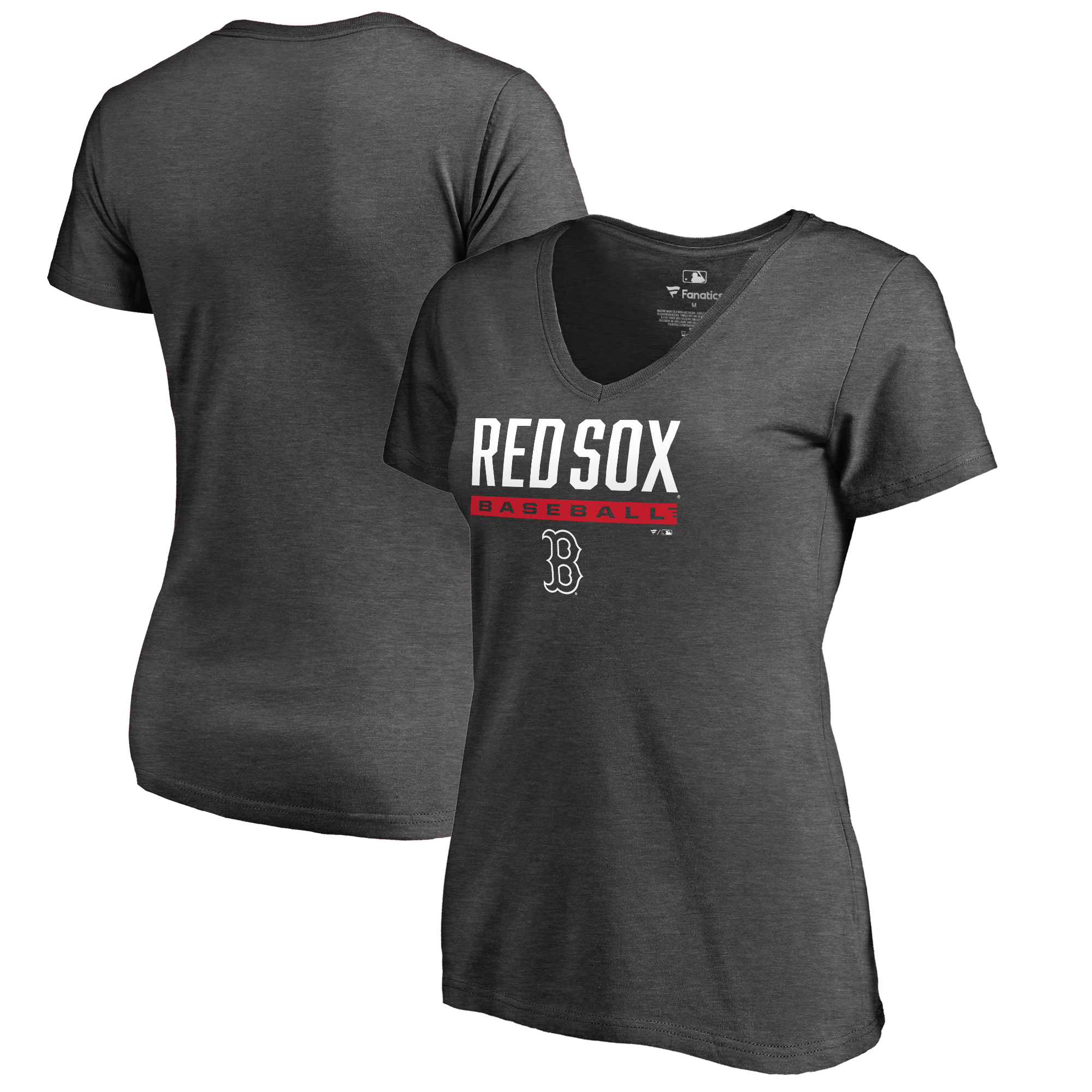 Boston Red Sox Fanatics Branded Women's Win Stripe Plus Size V-Neck T-Shirt - Ash
