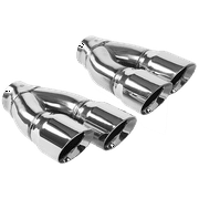 MagnaFlow Tip Stainless Double Wall Round Dual Outlet Polish 3in DIA 2.25in Inlet 9.75in Len (qty 2)
