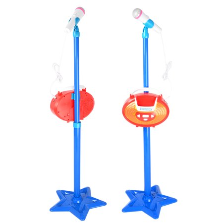 Portable Kids Karaoke Machine Toy Adjustable Star Base Stand Microphone Music Play Toys - Blue ()