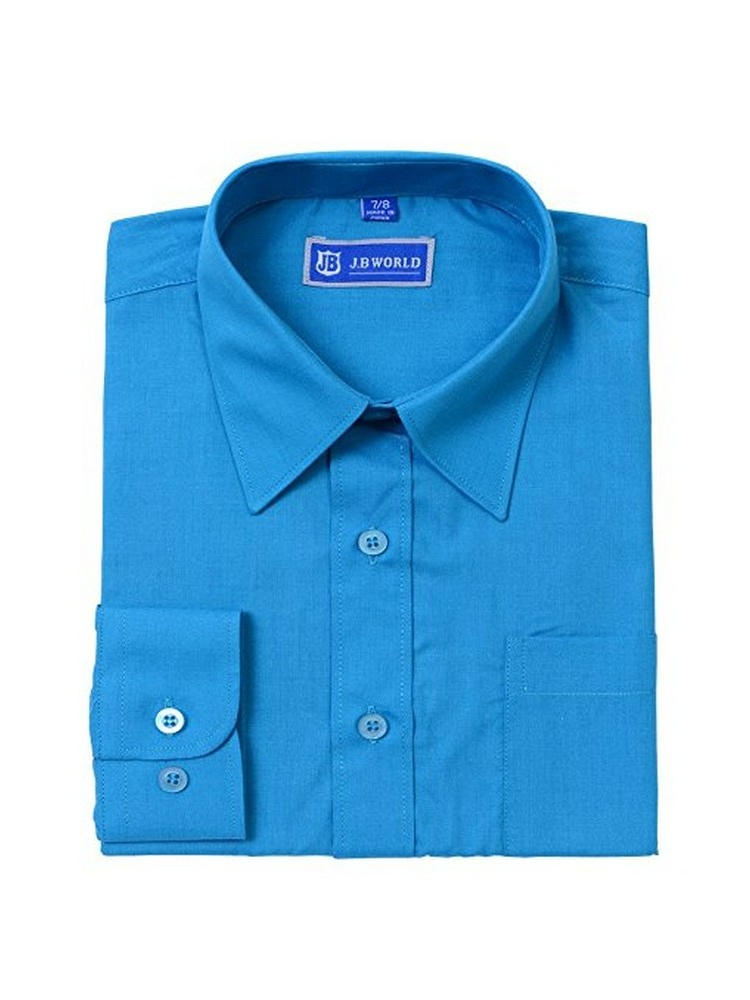 JB World Boys Turquoise Long Sleeve Button Front Uniform Dress Shirt