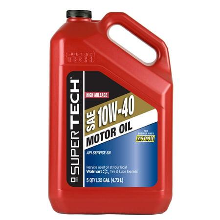 Supertech High Mileage 10w40 Motor Oil 5 Quart Best