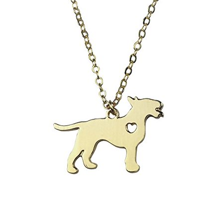 Art Attack Goldtone I Love My Dog Lover Heart Outline Bull Terrier Pet Puppy Rescue Pendant Necklace (I Love Puppies)