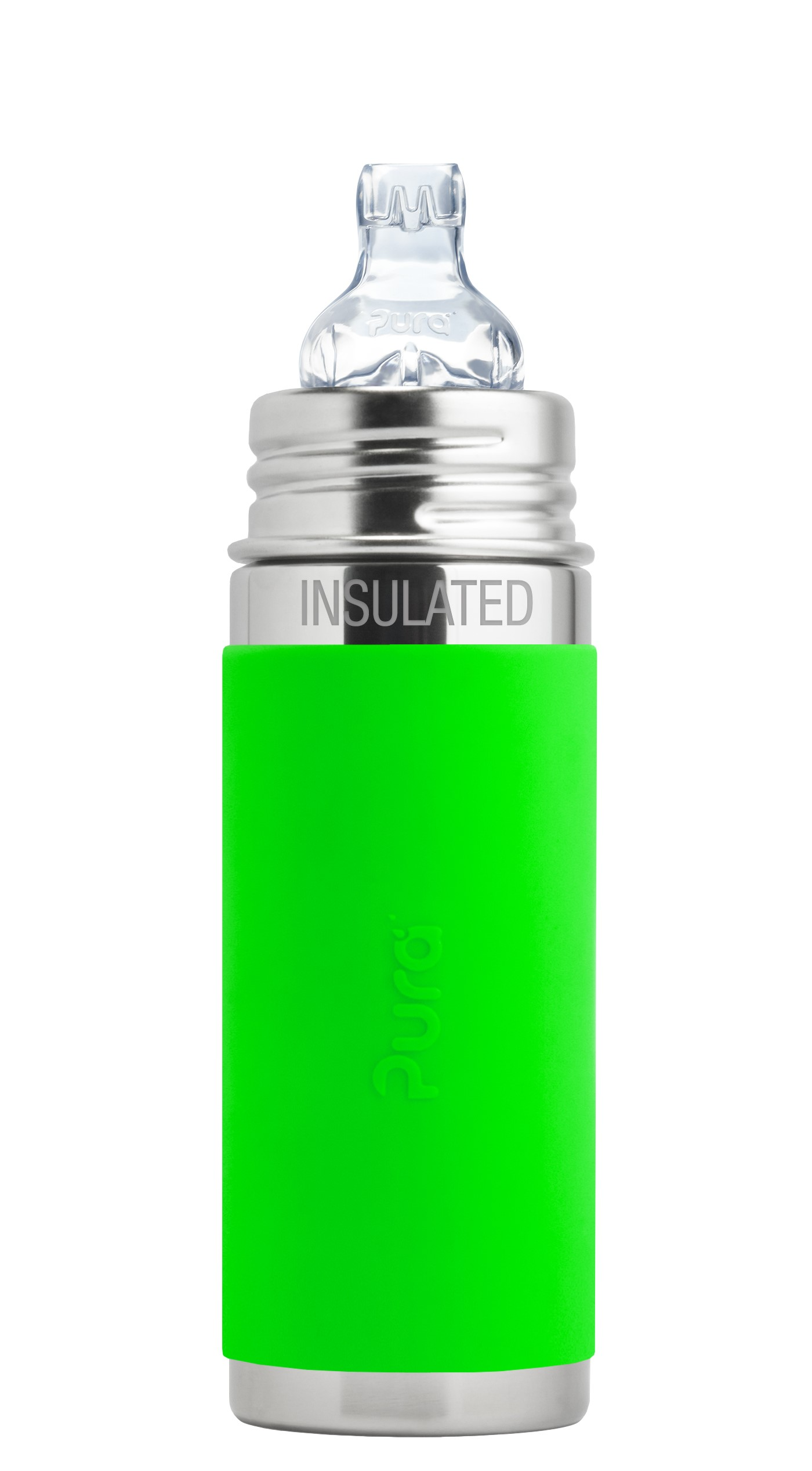 Pura Kiki 9 oz   260 ml Stainless Steel Insulated Sippy Cup with Silicone XL Sipper & Sleeve, Green (Plastic... by Pura Stainless