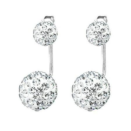 BodyJ4You Earrings Jacket Ear Stud Reverse Crystal Paved Ball Jewelry (Purple Austrian Crystal Earrings)