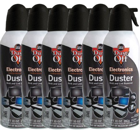 6pk dust off compressed air computer tv gas cans duster 10oz laptop keyboard cpu. Black Bedroom Furniture Sets. Home Design Ideas