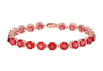 14K Rose Gold Vermeil Prong Set Round Ruby Bracelet 12 CT TGW July Birthstone Jewelry by Love Bright