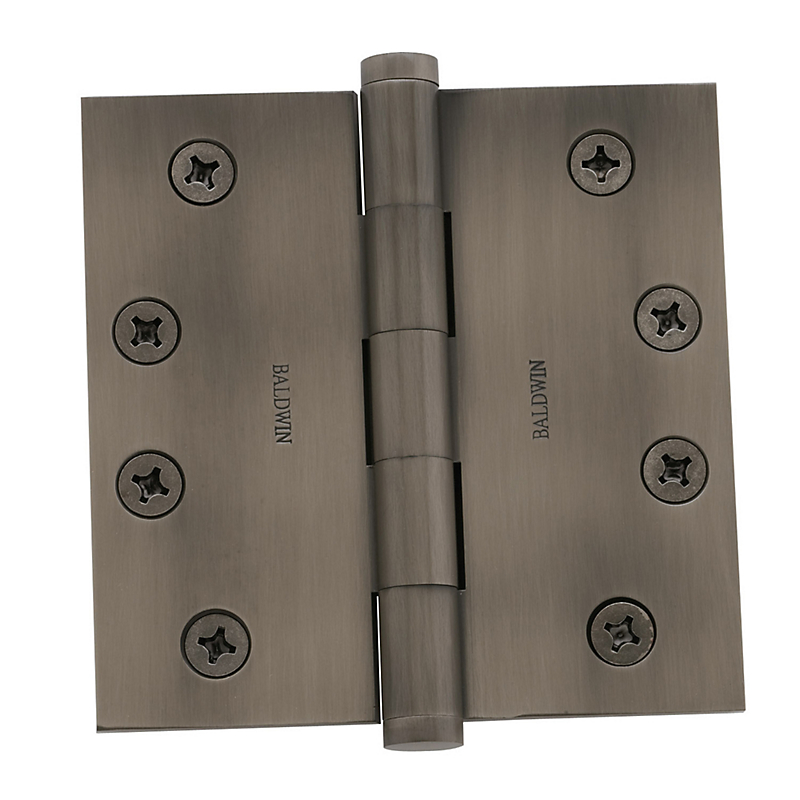 "Baldwin 1/4"" Square Corner Hinge 4"" x 4"" (PAIR) Satin Nickel"