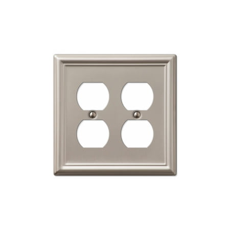 Double Duplex 2-Gang Decora Wall Switch Plate, Brushed Nickel