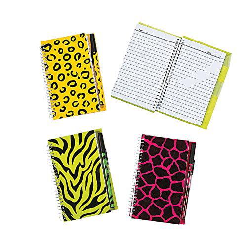 Neon Animal Print Spiral Notebook & Pen Sets 2 Dozen