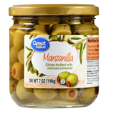 (Great Value Manzanilla Olives Stuffed with Minced Pimento, 7 oz)