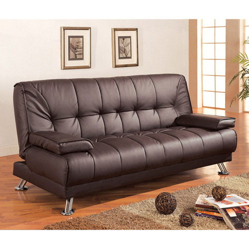 Braxton Leatherette Sofa Bed Brown Walmart Com