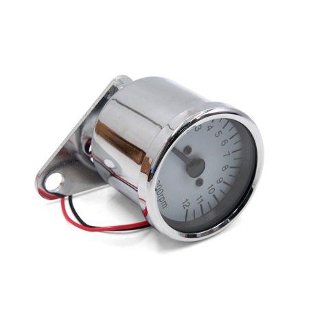 Universal Rotating Speedometer Gauge Meter Silver Tone for Motorcycle Scooter