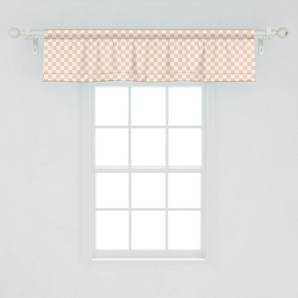 Ambesonne Geometric Window Valance Pale Salmon Colored Chess Table Like Modern Pink Color Squares Artwork Print Curtain Valance For Kitchen Bedroom Decor With Rod Pocket 54 X 12 Peach Cream Walmart Com