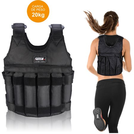 Tbest 50kg/110lbs Adjustable Weighted Vest, Men & Women Sports Workout Exercise Training Heavy Weight Vest Jacket with Shoulder Pads (Weights not (Best Weighted Vest Exercises)