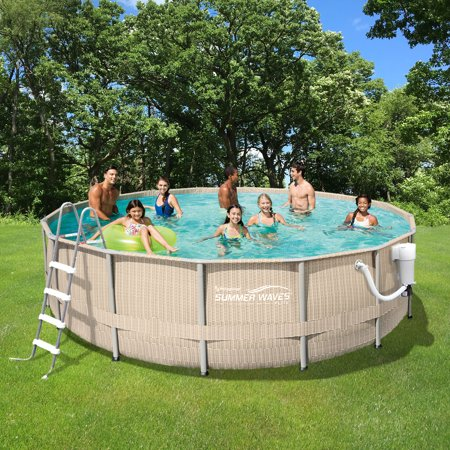 Light wicker 15 ft round metal frame pool package 48 in for Summer waves above ground pool review