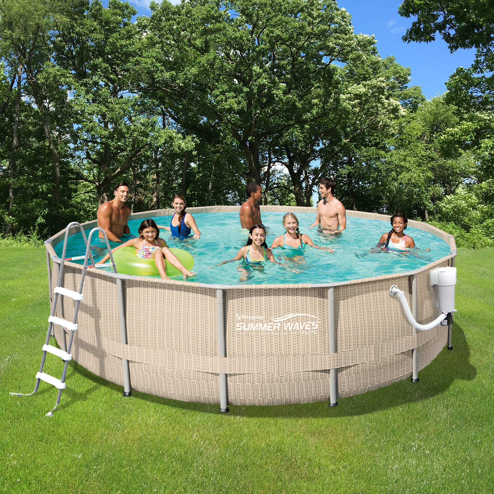 Light Wicker 15-ft Round Metal Frame Pool Package - 48-in Deep