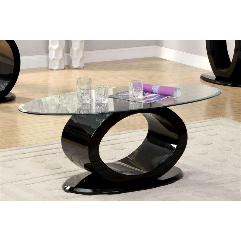 Furniture of America Mason Oval Glass Top Coffee Table in Black