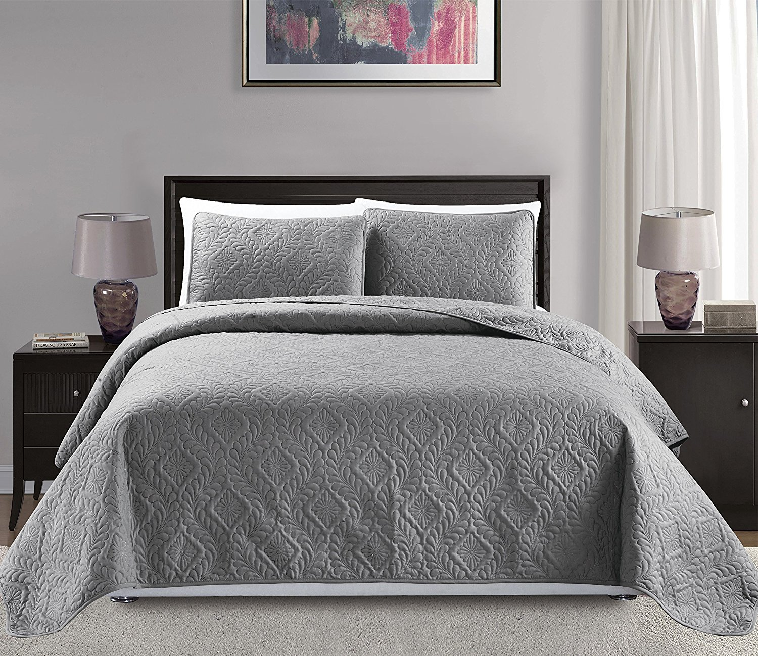 Etonnant Fancy Linen 3 Pc Over Size Diamond Bedspread Bed Cover Embossed Solid Gray  New King/California King 118?x106?   Walmart.com
