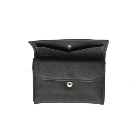 Black Genuine Leather Snap (Genuine Leather Ladies Black Change Coin Purse with Snap Closure for)