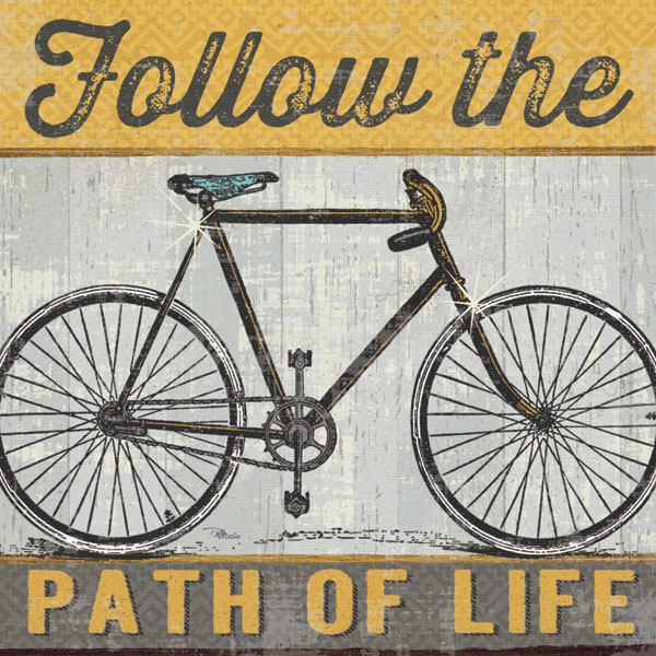 Fun Vintage-Style Grey and Yellow Follow the Path of Life' Bicycle Print by Pela Studio; One 12x12in Poster Prints