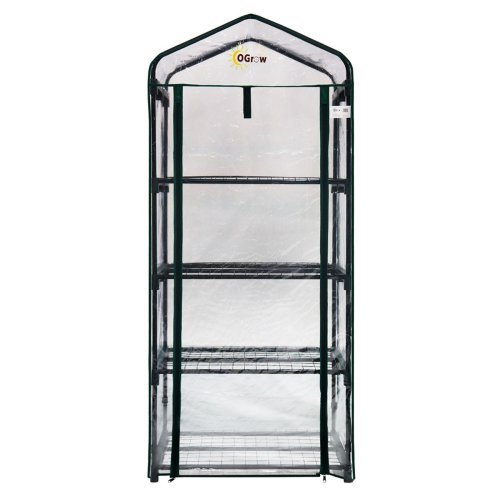 OGrow Ultra-Deluxe 4 Tier 2.5 Ft. W x 1.5 Ft. D Plastic Growing Rack Greenhouse