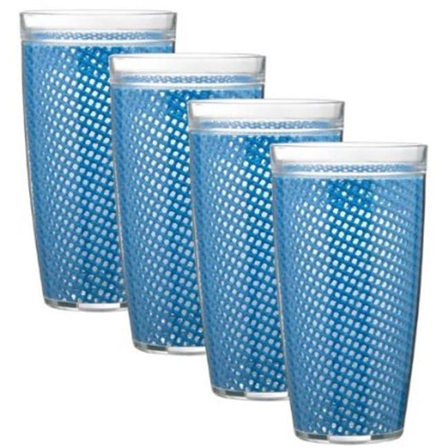 Kraftware Corp 38314 Fishnet 14 oz. Moss Doublewall Drinkware Glass, Set of 4
