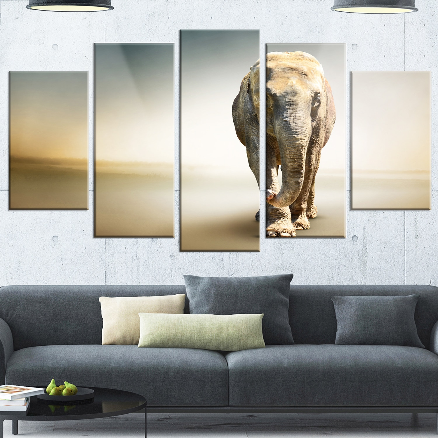 Design Art \'Smart Elephant Walking\' 5 Piece Graphic Art on Canvas ...