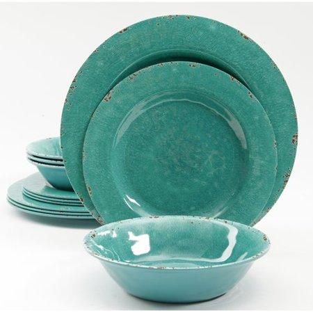 Highland Dunes Tanisha Crackle Melamine 12 Piece Dinnerware Set  Service For 4