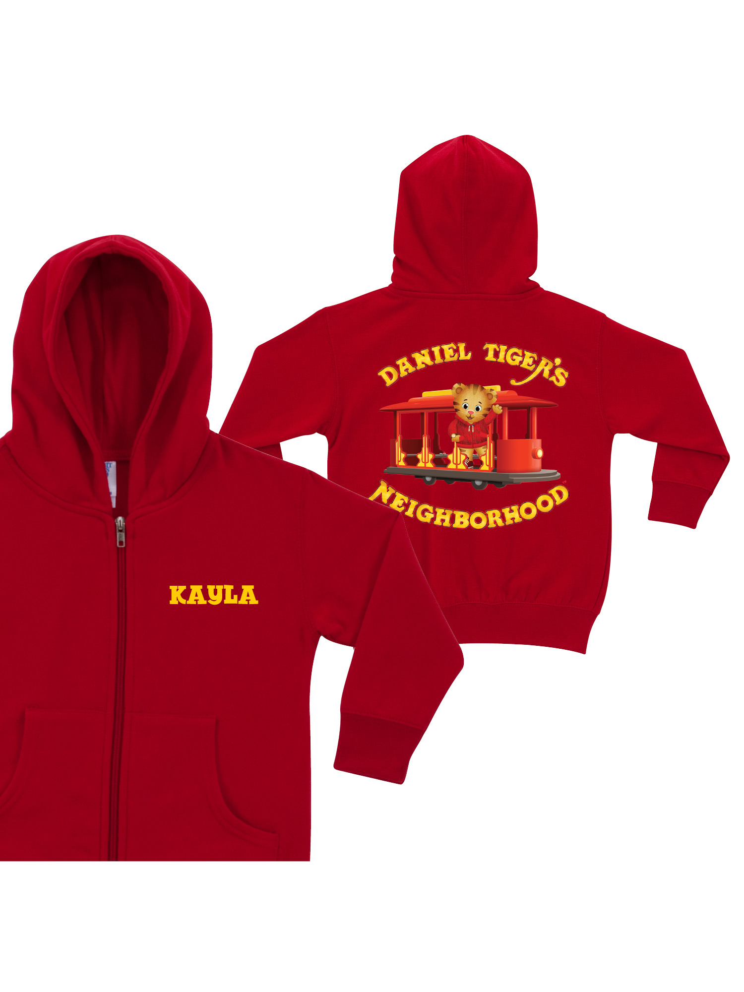 Personalized Daniel Tiger's Neighborhood Toddlers' Red Zip-Up Hoodie