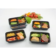 Mainstays 5PK 5Cup 3-Compartment Rectangular Meal Prep Container, Clear Lids & Black Containers