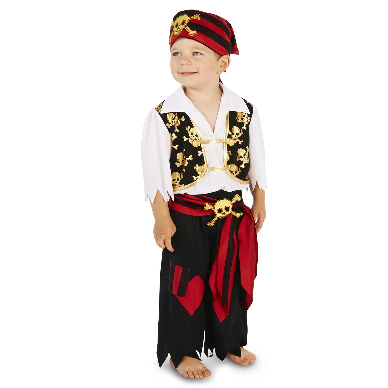 Skull Print Vest with Patched Pants Pirate Toddler Costume by BuyCostumes