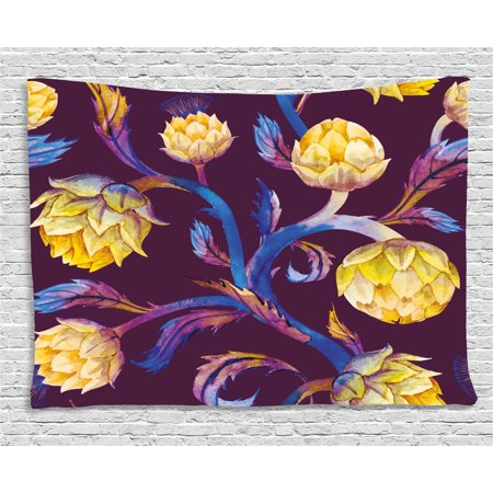 Artichoke Tapestry, Art Nouveau Style Arrangement with Vibrant Colored Vegetable Vegan, Wall Hanging for Bedroom Living Room Dorm Decor, 60W X 40L Inches, Plum Dark Blue and Yellow, by Ambesonne