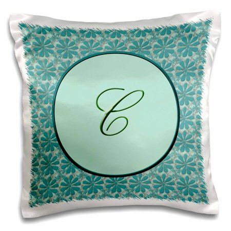 3dRose Elegant letter C in a round frame surrounded by a floral pattern all in teal green monotones - Pillow Case, 16 by 16-inch