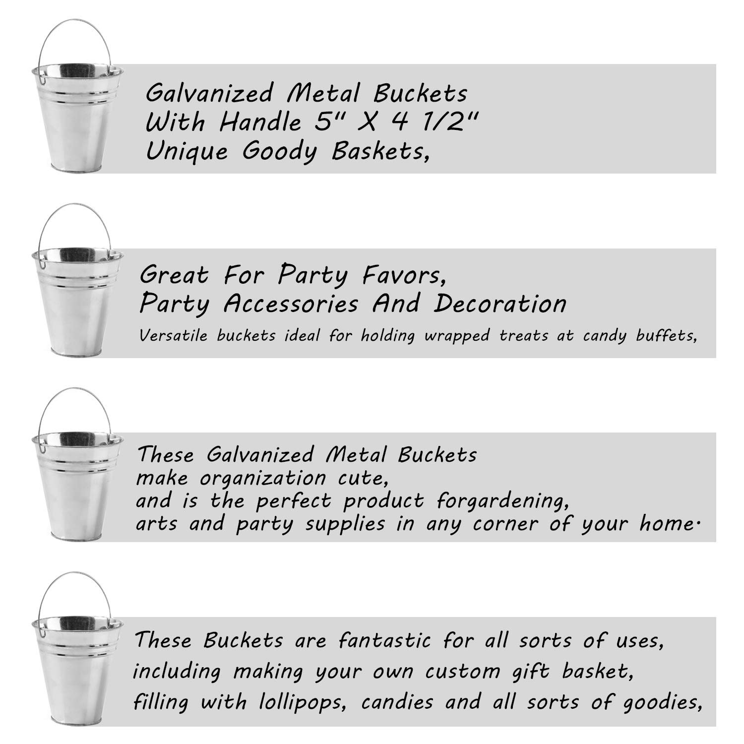 Party Accessories and Decoration Great for Party Favors Kidsco 24-Pack Large Galvanized Metal Buckets with Handle 5 X 4 1//2 Unique Goody Baskets by