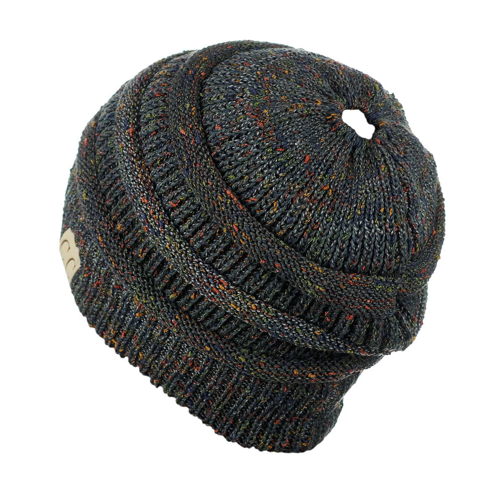 b19f5435687fe C.C BeanieTail Cotton Blend All Season Daily Messy High Bun Ponytail Beanie  Hat, Confetti Rust | Walmart Canada