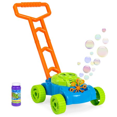 Best Choice Products Multicolor Electronic Bubble Blowing Lawn Mower with Bubble Solution
