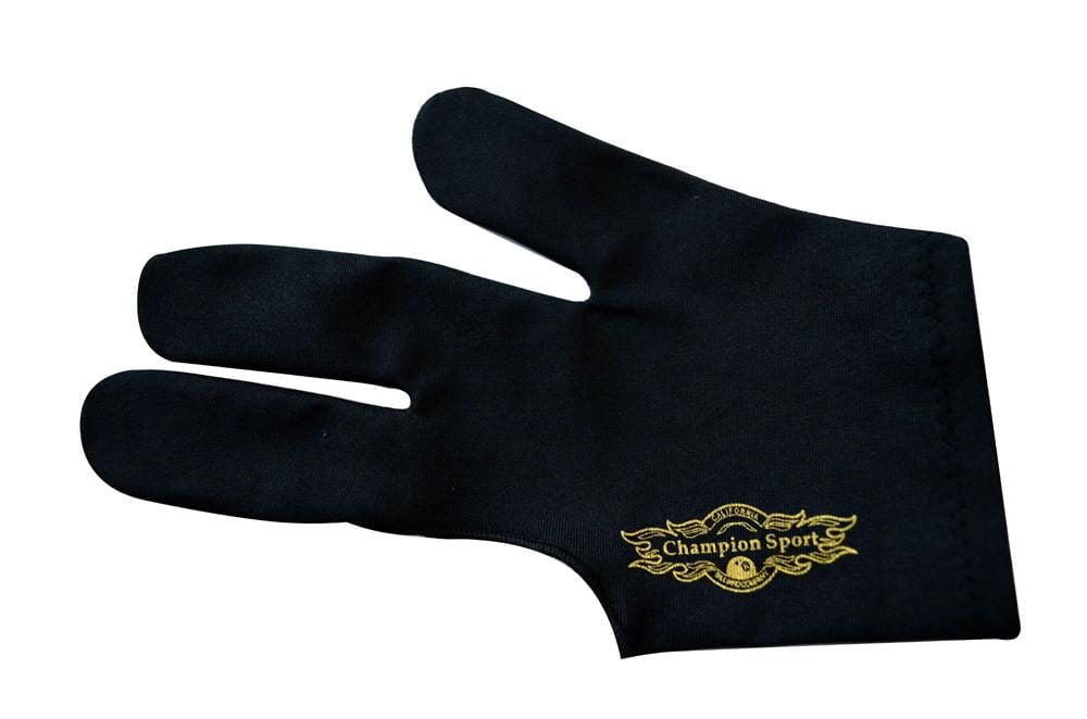 Black Left handed Champion Sport Billiards Glove For Pool Cue Sticks by