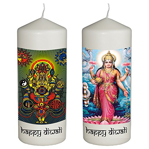 Diwali Candles (Happy Diwali Celebration Set of 2 Candles for Diwali - Goddess Lakshmi and Lord Ganesha - Printed in Full Color 6 Inches Tall)
