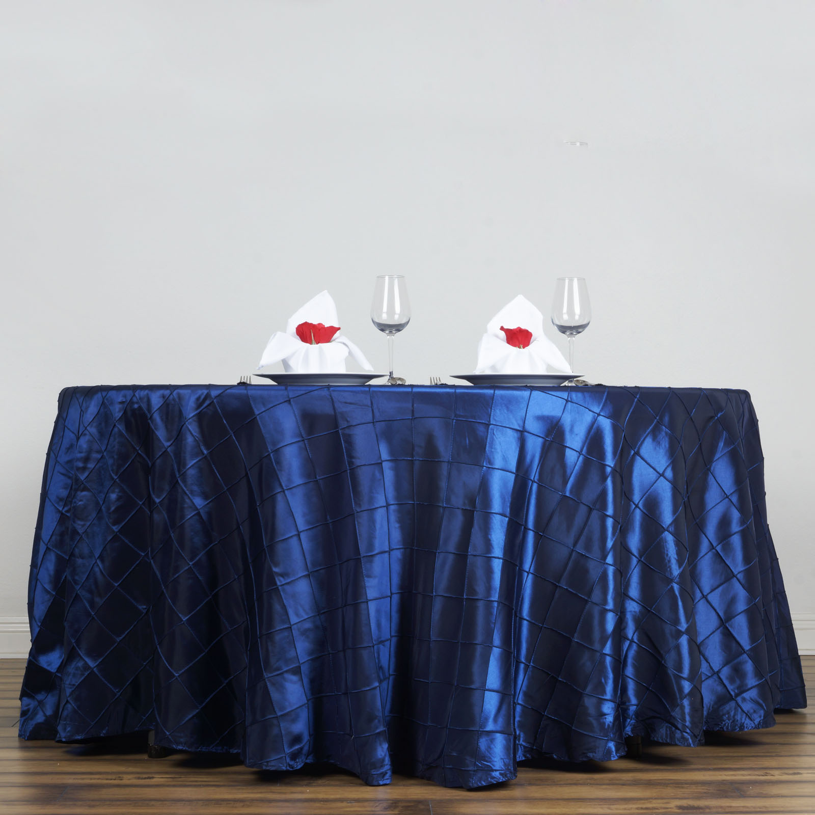 "Click here to buy BalsaCircle 108"" Pintuck Taffeta Round Tablecloth Wedding Party Linens."