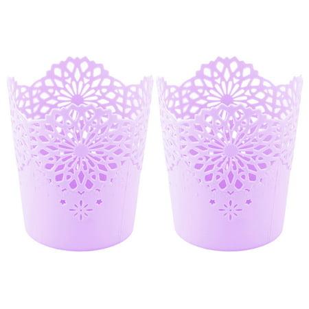 Basket Store Fr - Unique Bargains Home Office Plastic Hollow Out Flower Design Sundries Storage Basket Purple 2pcs