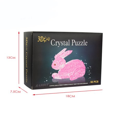 Mosunx 3D Crystal Puzzle Cute Rabbit Model DIY Gadget Blocks Building Toy Gift HOT ()