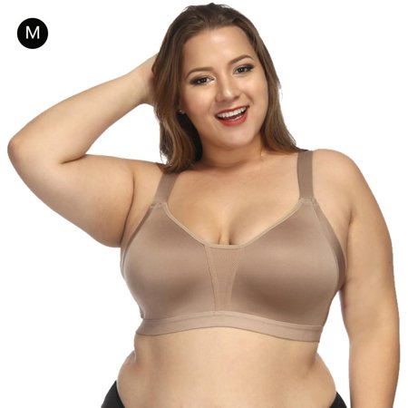 Women's Plus Size Sleep Leisure Bra Comfort Soft Cup Everyday Bra for Womens , Skin coldr (Leisure Sleep Bra)