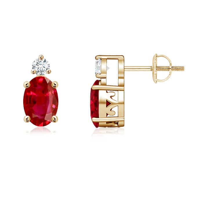 Angara Basket-Set Ruby Stud Earrings in Yellow Gold CqN8o