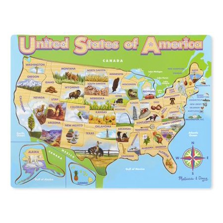 Melissa & Doug USA Map Wooden Jigsaw Puzzle, 45pc - Usa Puzzle Map