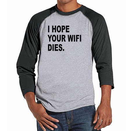 7 ate 9 Apparel Mens Hope Your Wifi Dies Raglan Tee - Large
