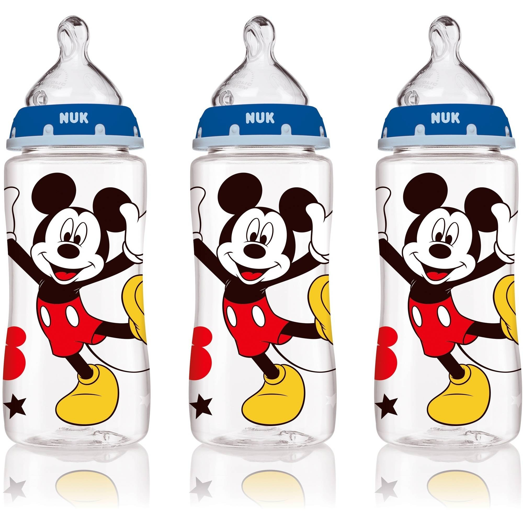 Nuk Disney Mickey Mouse 10 oz Silicone Orthodontic Bottle, Med Flow, 3 ct