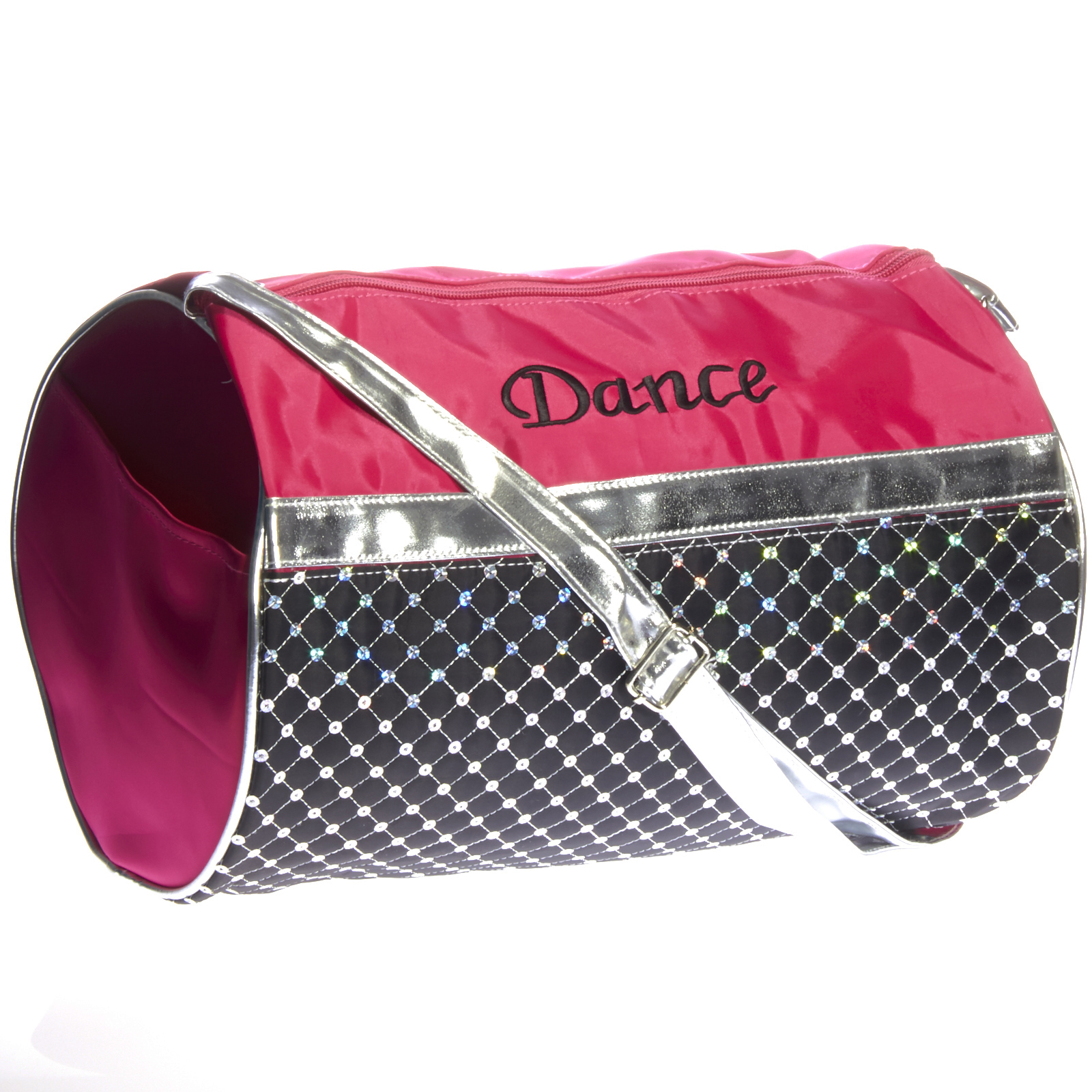 Girl's Quilted Nylon Dance Duffle Bag w  Sequins (Pink Black Silver) by