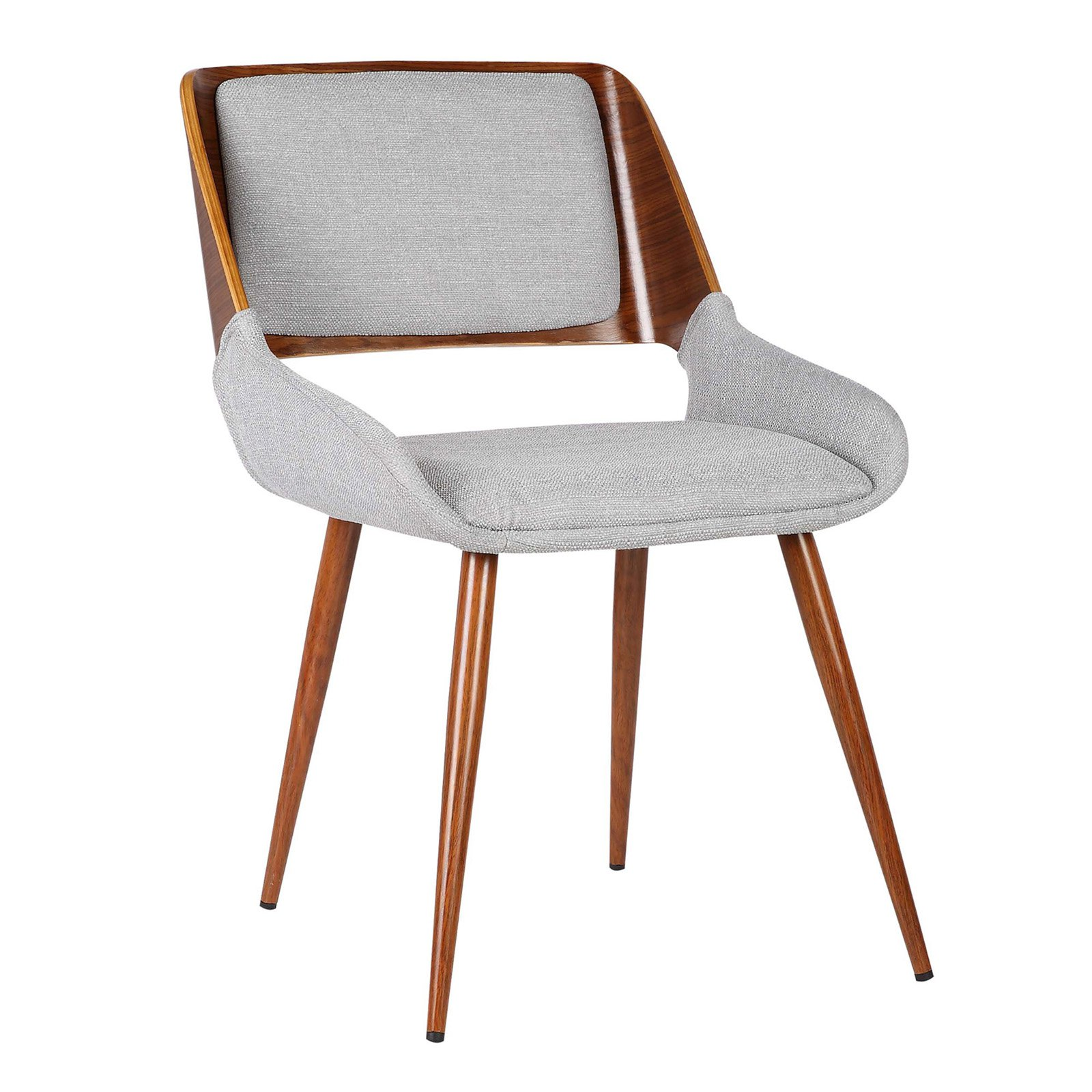 Armen Living Panda Mid-Century Dining Chair in Walnut Wood and Fabric