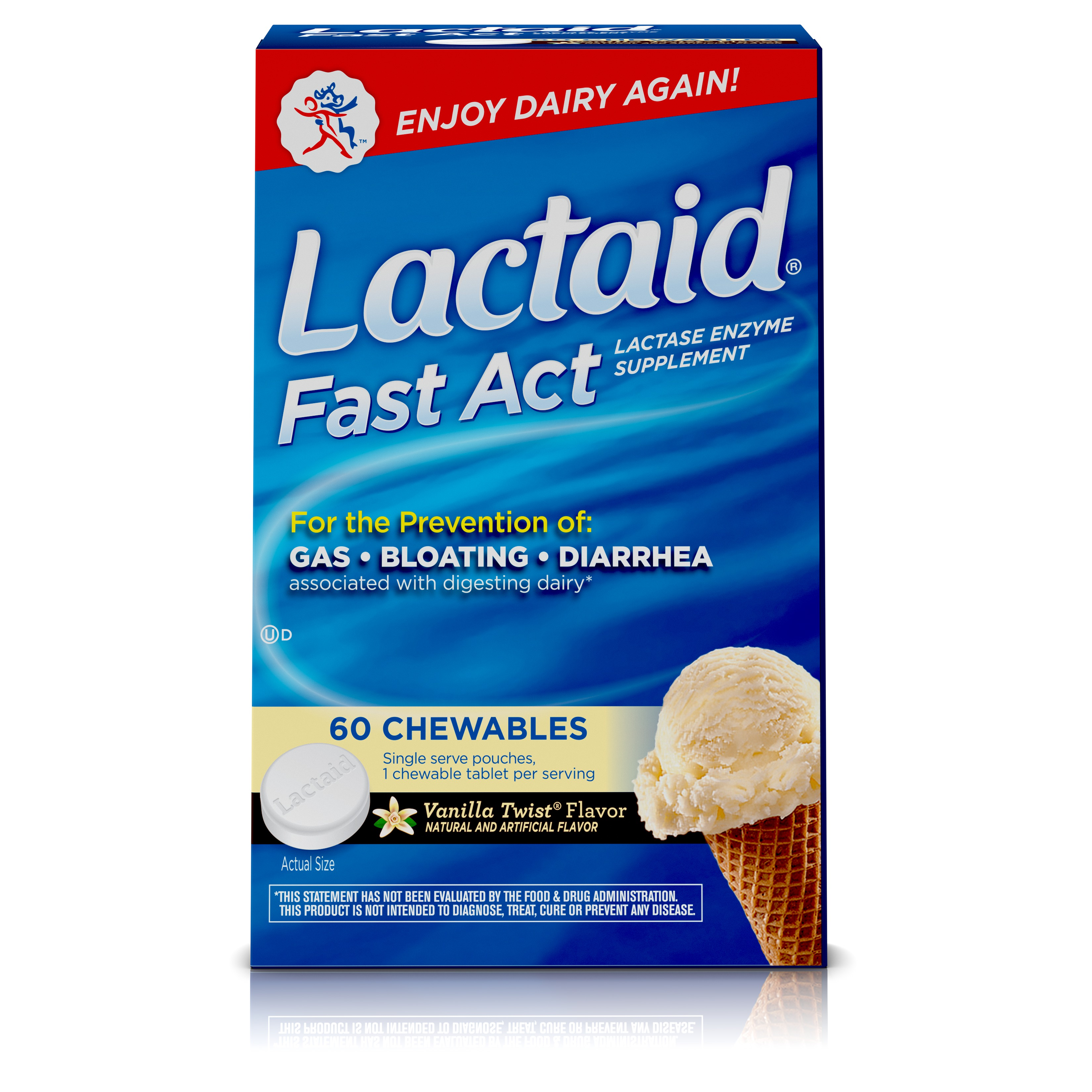 Lactaid Fast Act Lactose Intolerance Relief, Chewables, Vanilla Twist flavored, 60 single-dose pouches